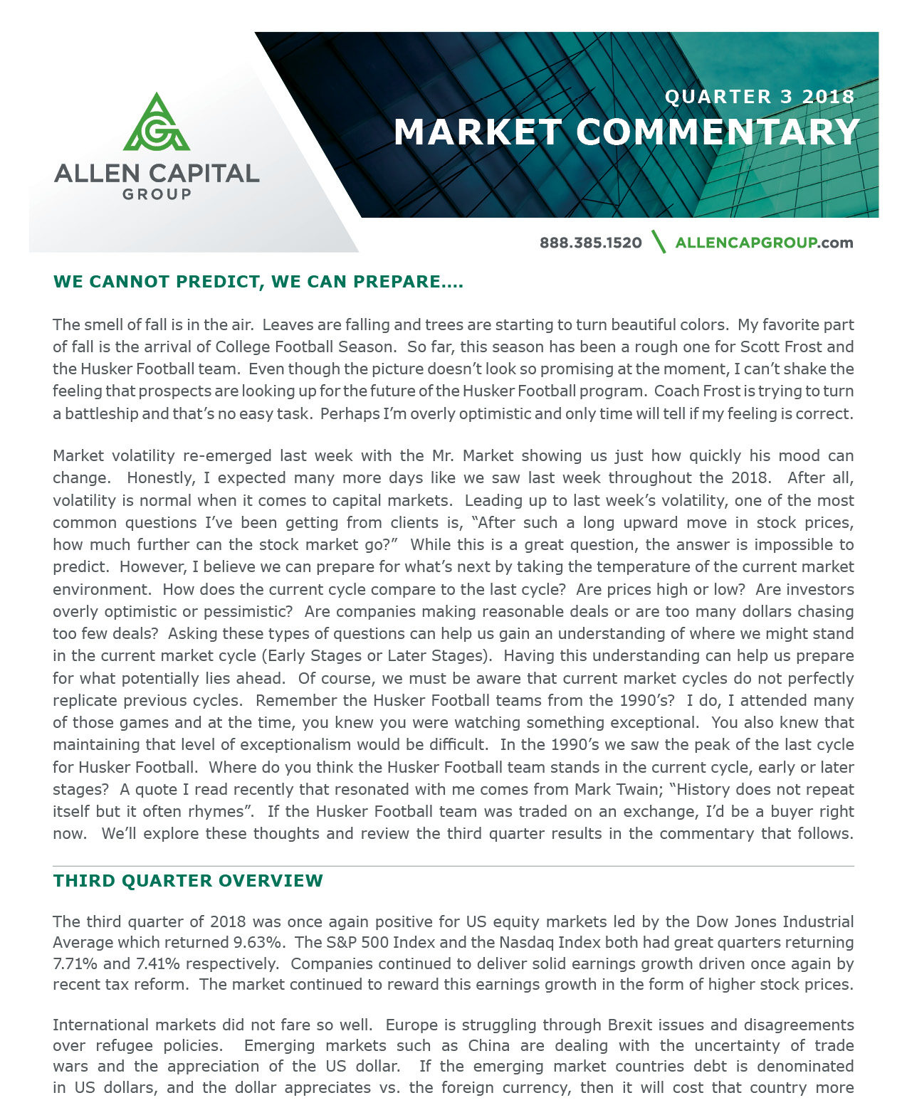 Quarter 3 2018 Market Commentary | Allen Capital Group